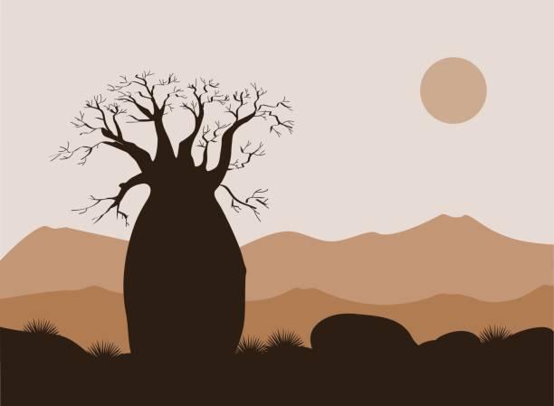 Paisaje de árbol Baobab con fondo de montañas. Silueta de Baobab. Amanecer africano - ilustración de arte vectorial