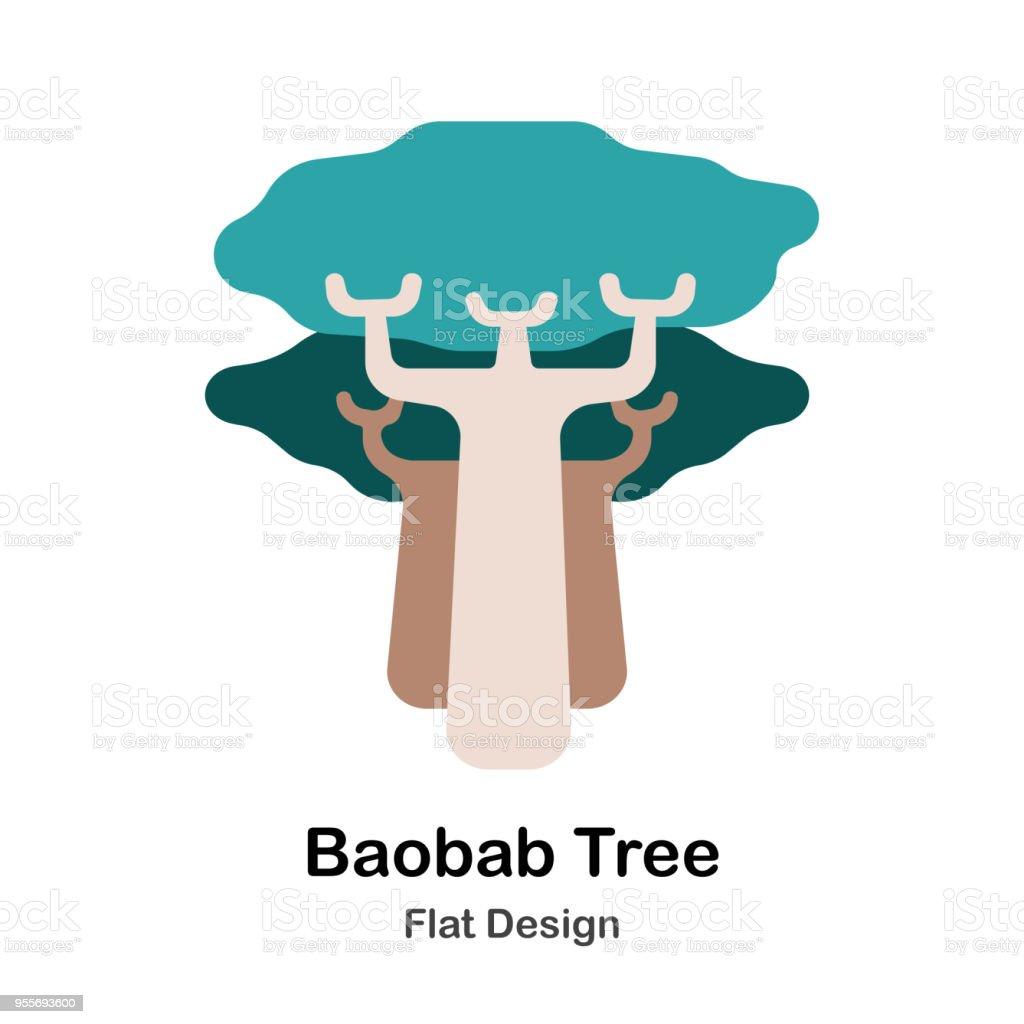 Baobab tree vector art illustration