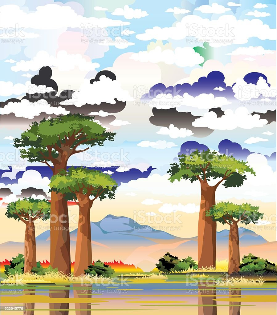 Baobabs and mountain on a cloudy sky. vector art illustration