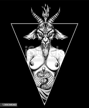 Baphomet occult t-shirt print design.