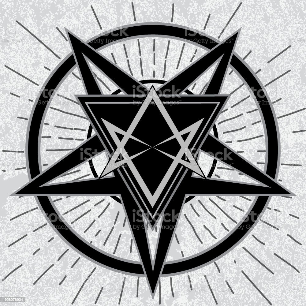 Baphomet Sign With Thelema Hexagram Stock Illustration