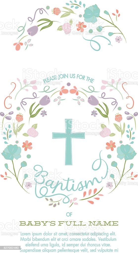 Baptism, Christening, First Holy Communion Invitation Template - Flower Border vector art illustration