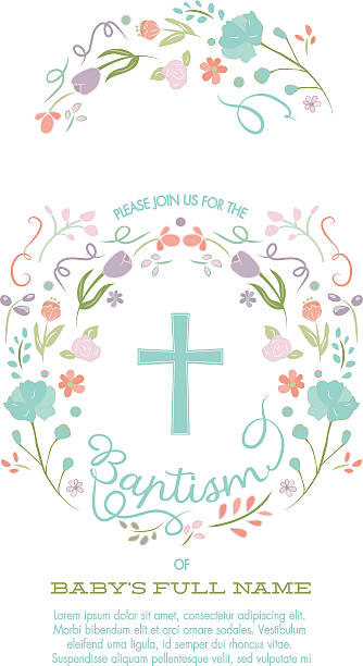 baptism, christening, first holy communion invitation template - flower border - communion stock illustrations, clip art, cartoons, & icons