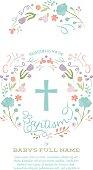 Baptism, Christening, First Holy Communion Invitation Template - Flower Border