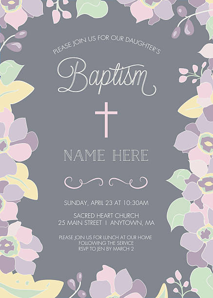 baptism, christening, first holy communion invitation template - vector - baptism stock illustrations, clip art, cartoons, & icons