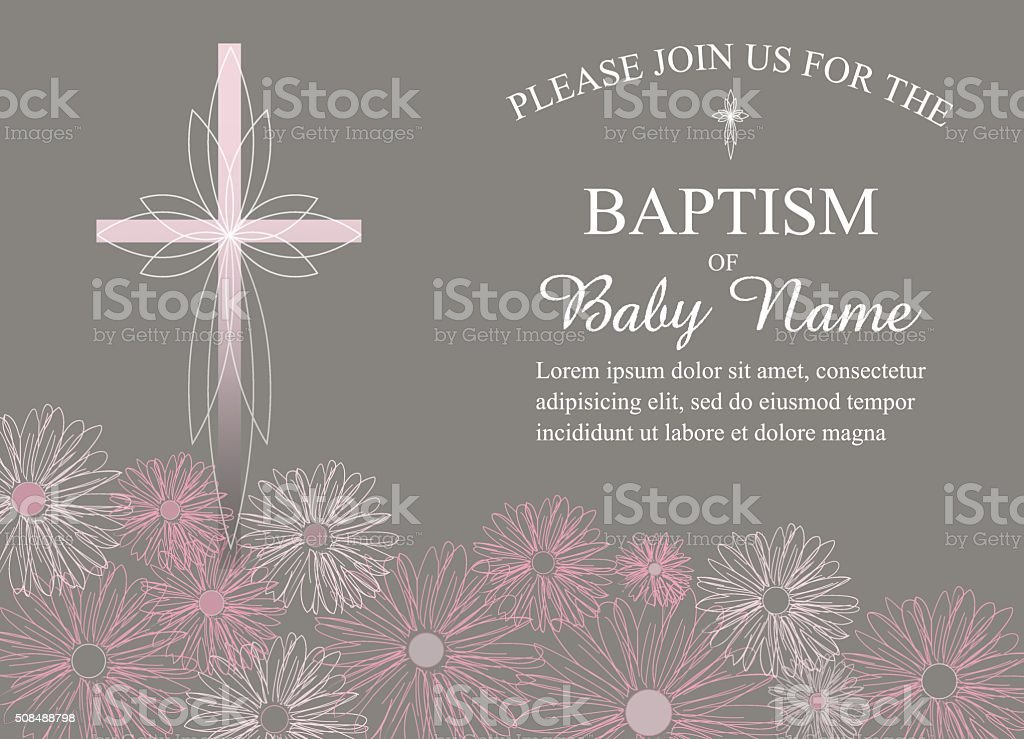 Baptism, Christening Invitation Template with Daisies and Cross vector art illustration