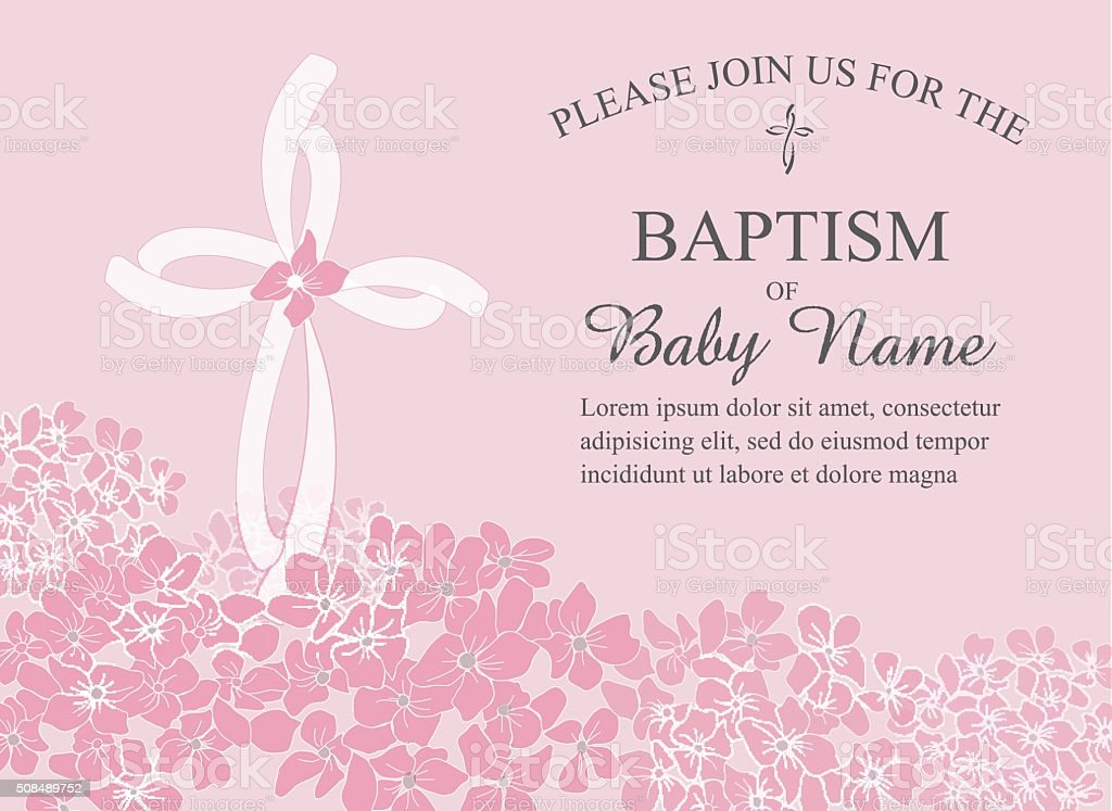 Baptism, Christening Invitation Template with Hydrangea Flowers and Cross vector art illustration