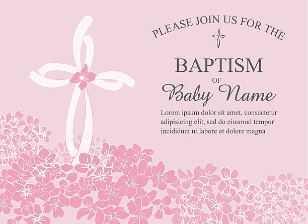 baptism, christening invitation template with hydrangea flowers and cross - baptism stock illustrations, clip art, cartoons, & icons