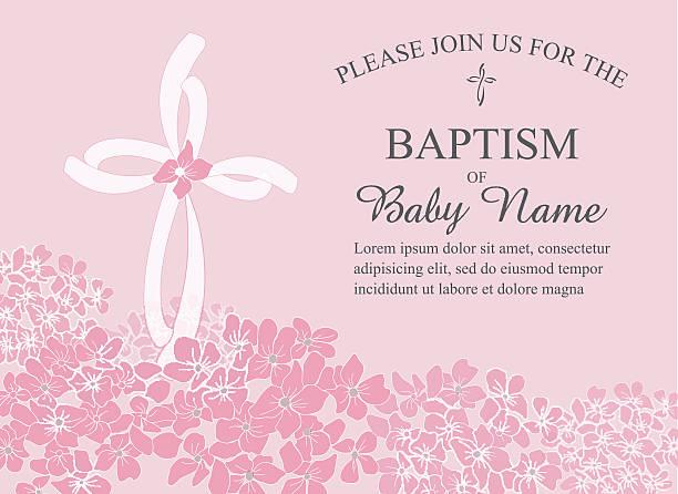 Batismo, Batizado convite modelo com flores e Cruz Hidrângea - ilustração de arte vetorial