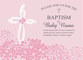 Baptism, Christening Invitation Template with Hydrangea Flowers and Cross