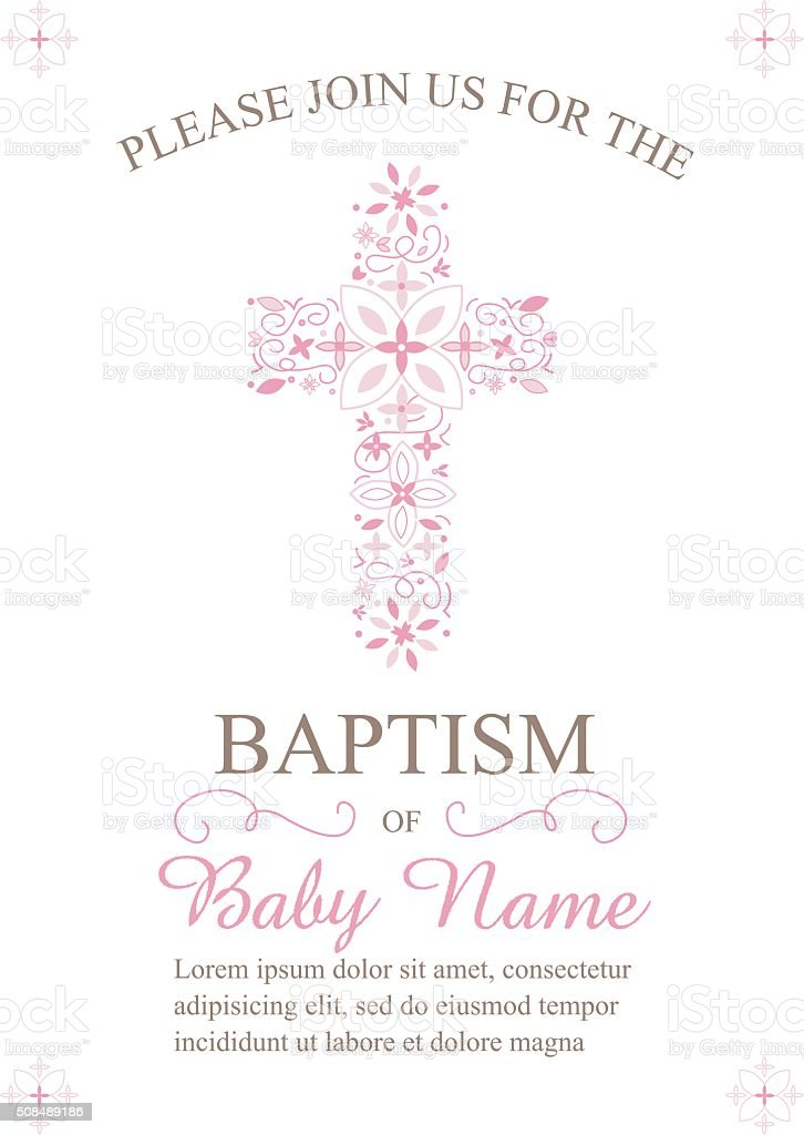Baptism, Christening Invitation Template with Ornate Cross vector art illustration
