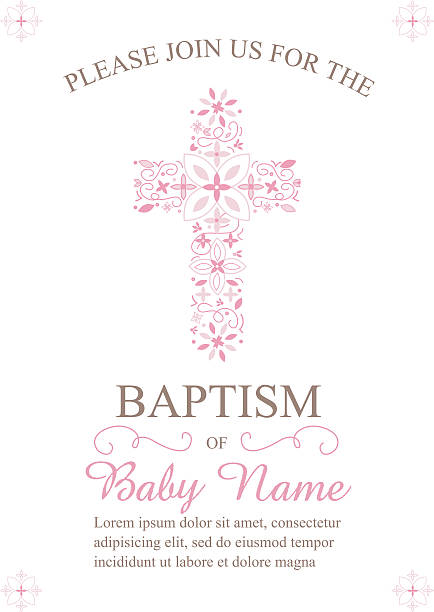 baptism, christening invitation template with ornate cross - baptism stock illustrations, clip art, cartoons, & icons