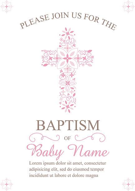 Batismo, Batizado convite modelo com bordados Cruz - ilustração de arte vetorial
