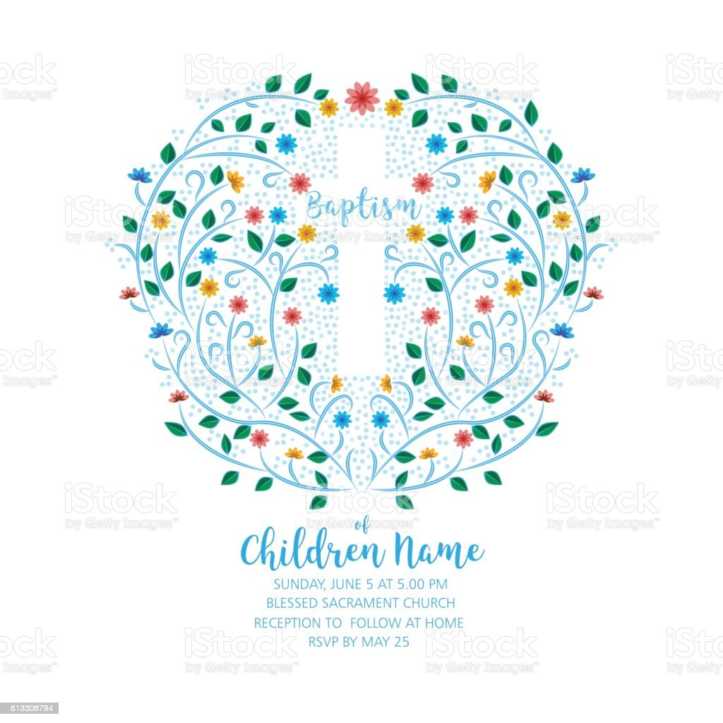Baptism, Christening Invite - Invitation Template with Cross and Flowers. vector art illustration