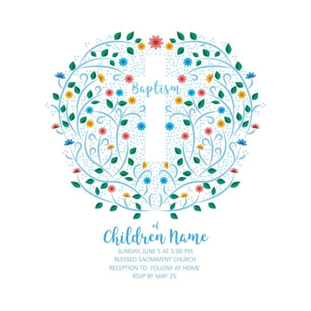 Baptism, Christening Invite - Invitation Template with Cross and Flowers. - ilustração de arte vetorial