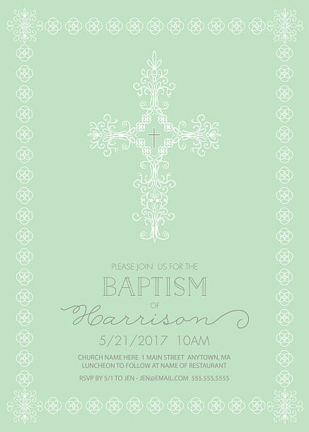 baptism, christening, or first communion invitation template - vector - baptism stock illustrations, clip art, cartoons, & icons