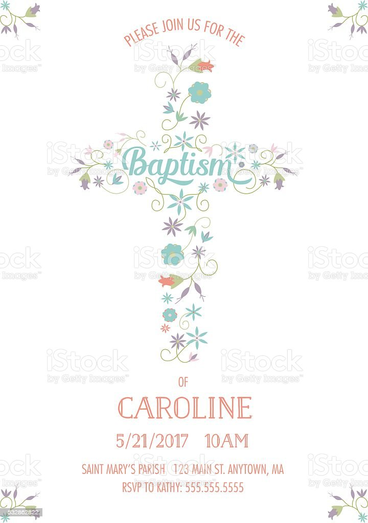 Baptism, Christening, Religious Occasion Invite - Invitation Template - Cross, Flowers vector art illustration