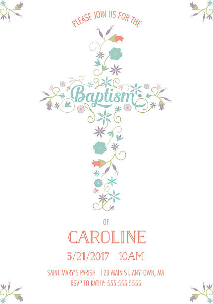 baptism, christening, religious occasion invite - invitation template - cross, flowers - baptism stock illustrations, clip art, cartoons, & icons