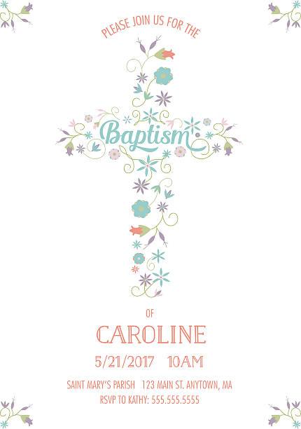 Batismo, Batizado, religiosas ocasião convide-o convite modelo-Cruz de flores - ilustração de arte vetorial