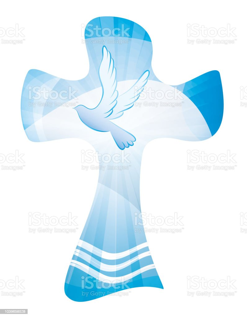 Baptism Christian Cross Waves Of Water And Dove Multipleexposureblue