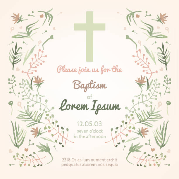 baptism invitation card - communion stock illustrations, clip art, cartoons, & icons