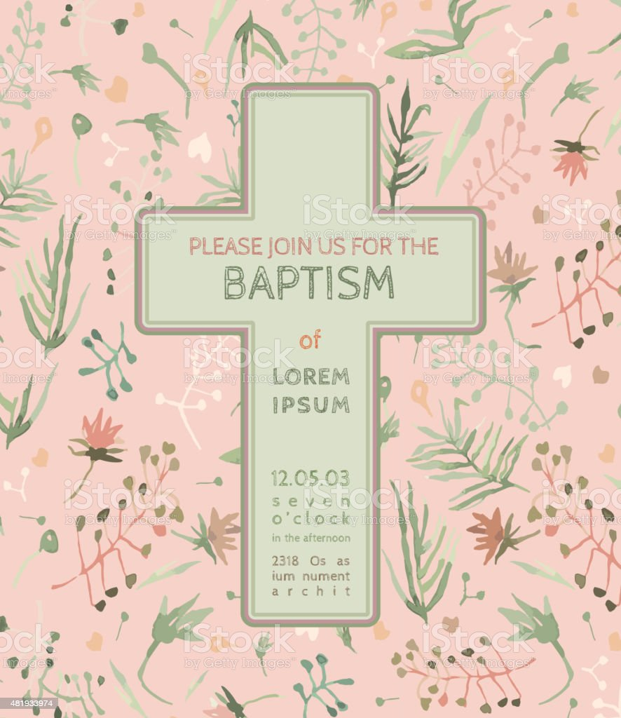 Baptism invitation card vector art illustration
