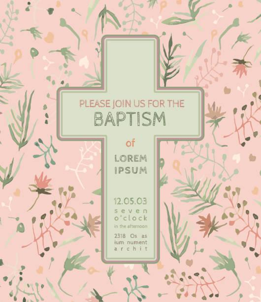 Baptism invitation card vector art illustration