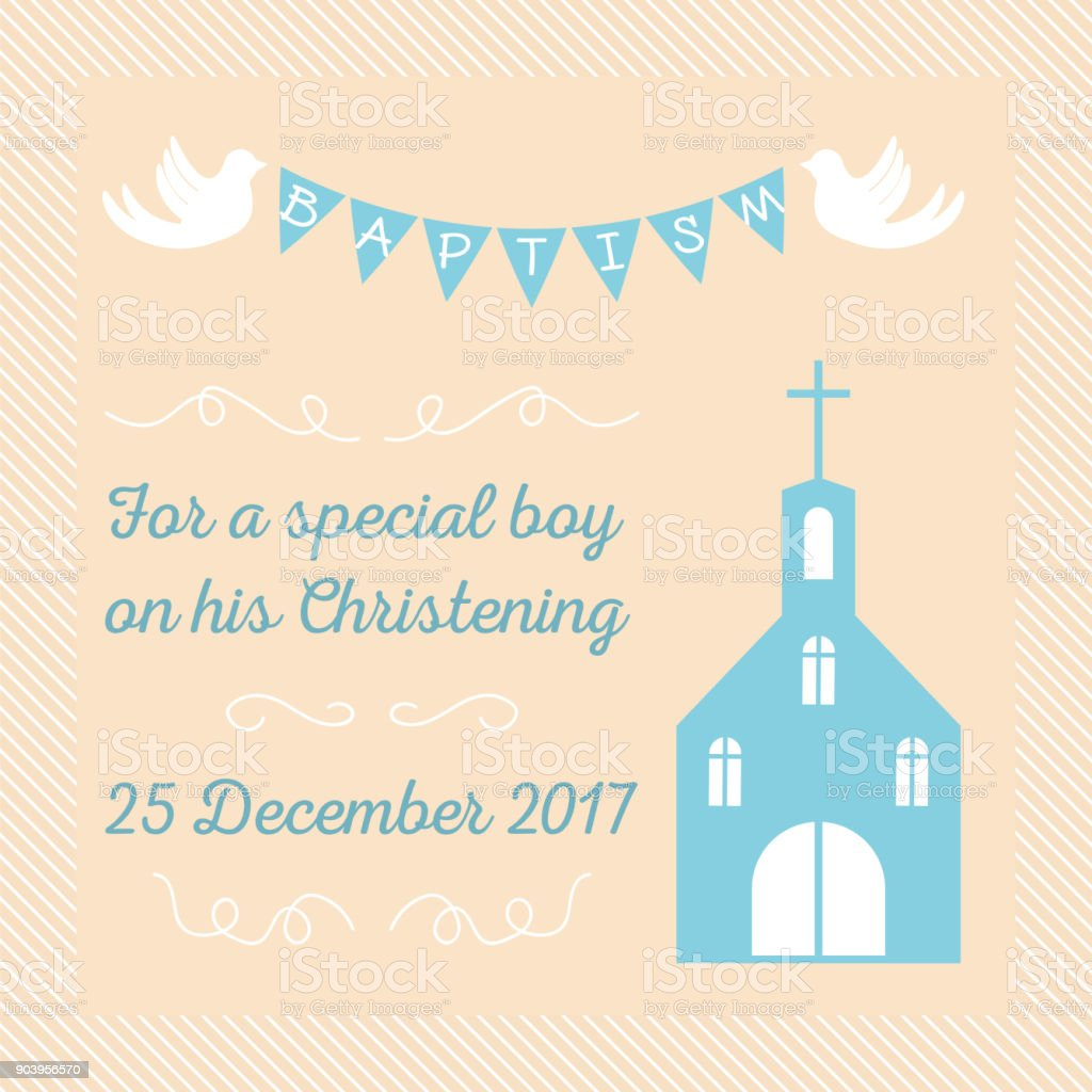 baptism invitation template - illustrazione arte vettoriale