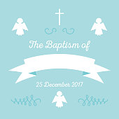 Baby Boy Baptism Or Christening Invitation Template Stock Vector Art