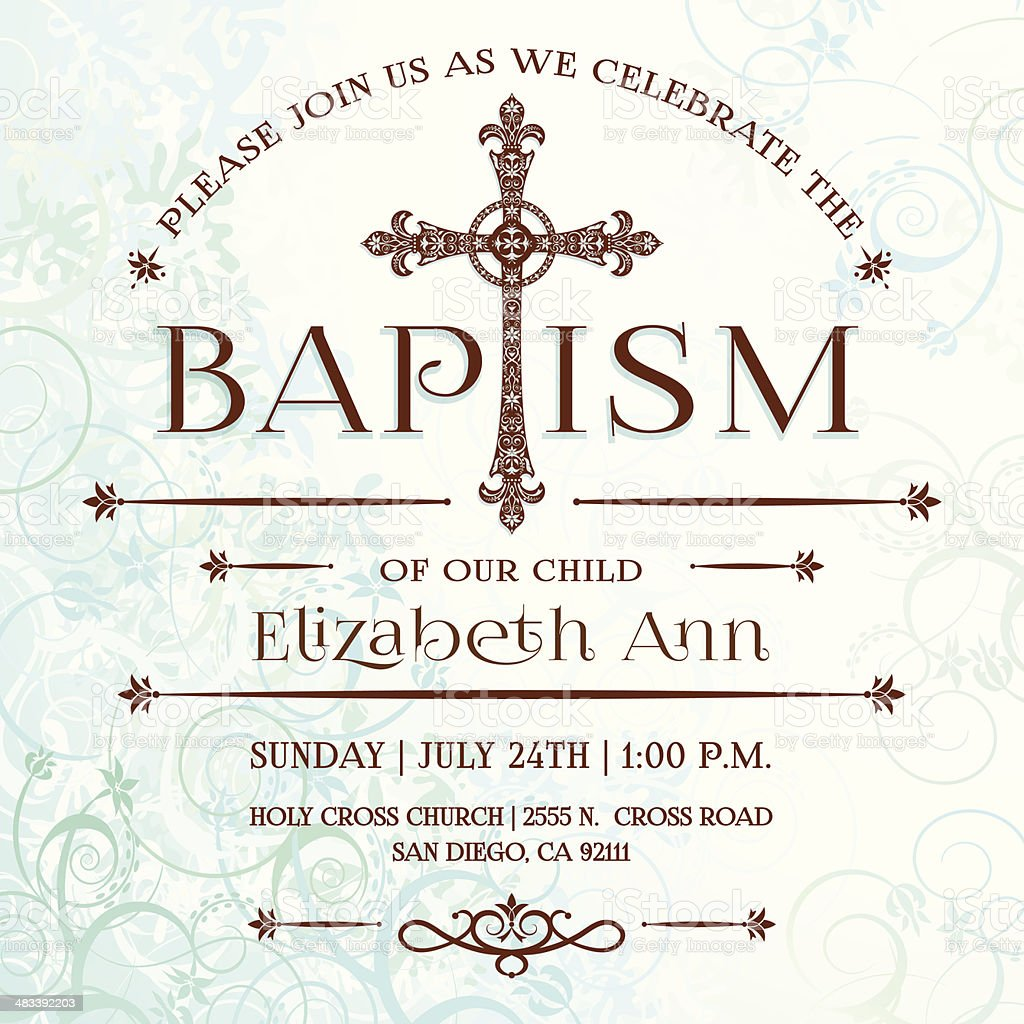 Baptism Invitation vector art illustration