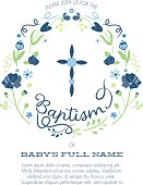 Baptism Invitation with Floral Wreath and Cross