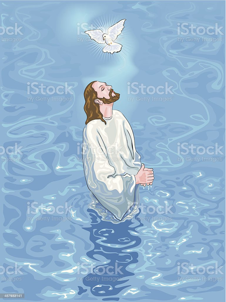 Baptism of Jesus vector art illustration