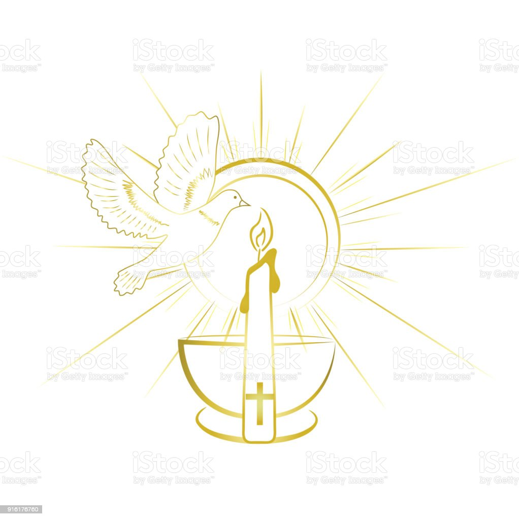 Baptism sacrament symbols gold and simple invitation design stock baptism sacrament symbols gold and simple invitation design royalty free baptism sacrament symbols stopboris Images