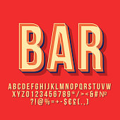 Bar 3d vintage vector lettering. Retro bold font. Pop art stylized text. Old school style letters, numbers, symbols pack. 90s, 80s poster, banner, signboard typography design. Red color background