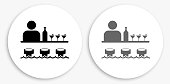 istock Bar and Bartender Black and White Round Icon 1160978417