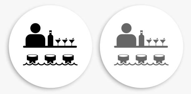 bar ve barmen siyah ve beyaz yuvarlak simge - bartender stock illustrations