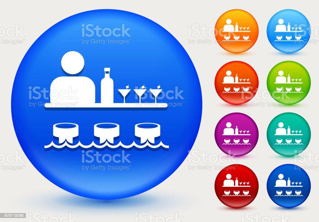 酒吧和酒保上閃亮的彩色圓圈按鈕圖示 免版稅 酒吧和酒保上閃亮的彩色圓圈按鈕圖示 向量插圖及更多 含酒精飲品 圖片