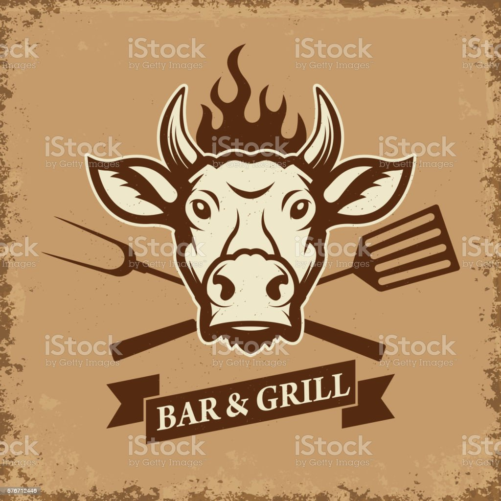 Bar and grill. Cow head with kitchen tools on grunge vector art illustration