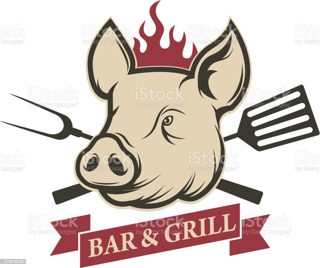 Bar and grill. Pig head with kitchen tools vector art illustration