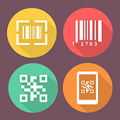 Bar and Qr code icons.    Scan barcode. Circle flat buttons