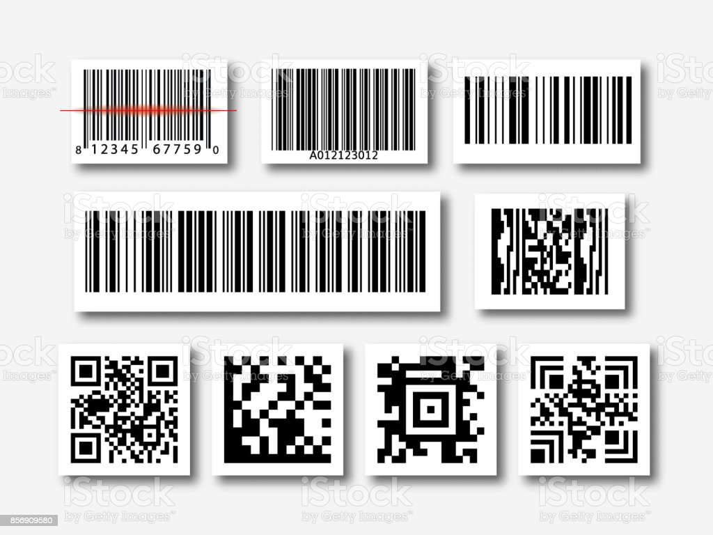 bar and qr code sticker set vector art illustration