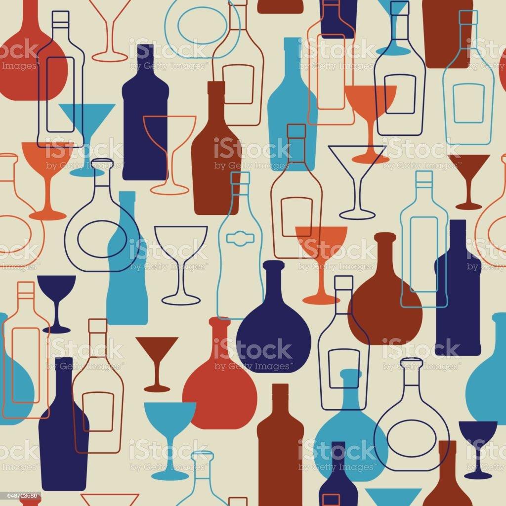 Bar background with bottles and glasses vector art illustration