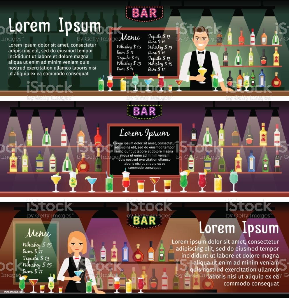 Bar banners set vector art illustration