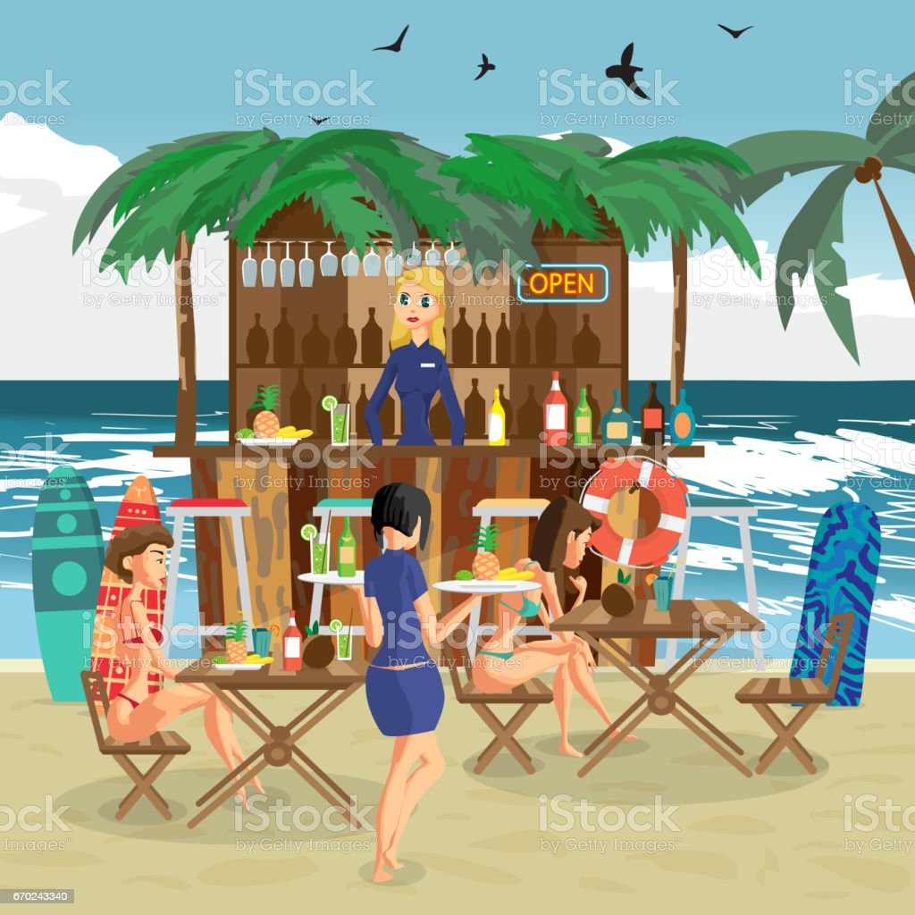 Bar bungalows with bartender woman vector art illustration