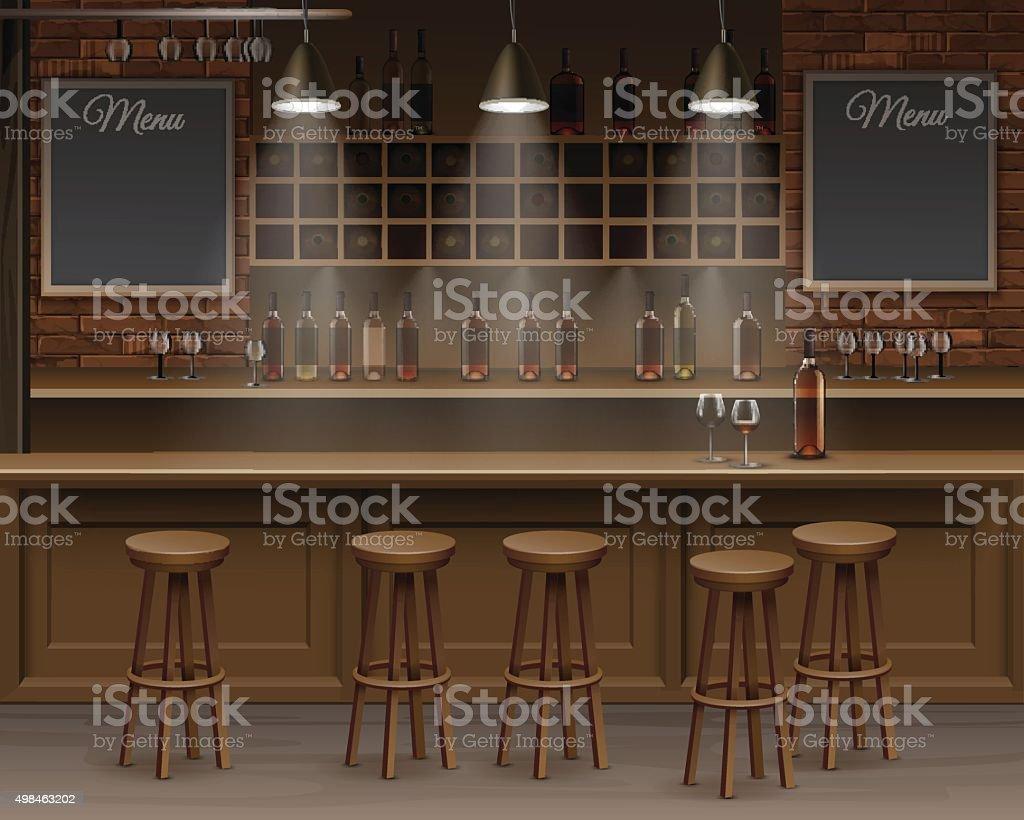 Bar Café, Cerveja Cafeteria Balcão De Vetor Mesa Interior Bar Café Cerveja  Cafeteria Balcão De