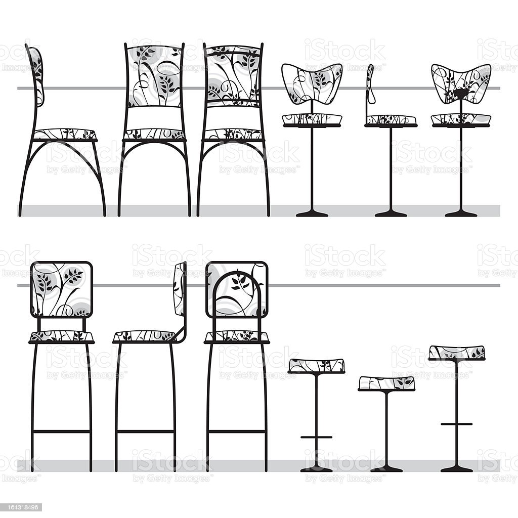 Bar / Cafe chairs collection vector art illustration
