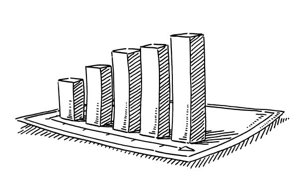 Bar Chart 3D Effect Drawing Hand-drawn vector drawing of a Bar Chart 3D Effect. Black-and-White sketch on a transparent background (.eps-file). Included files are EPS (v10) and Hi-Res JPG. business stock illustrations