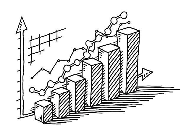 Bar Chart Ascending Success Drawing Hand-drawn vector drawing of an Ascending Bar Chart, Business Success Concept Image. Black-and-White sketch on a transparent background (.eps-file). Included files are EPS (v10) and Hi-Res JPG. abstract 3d stock illustrations