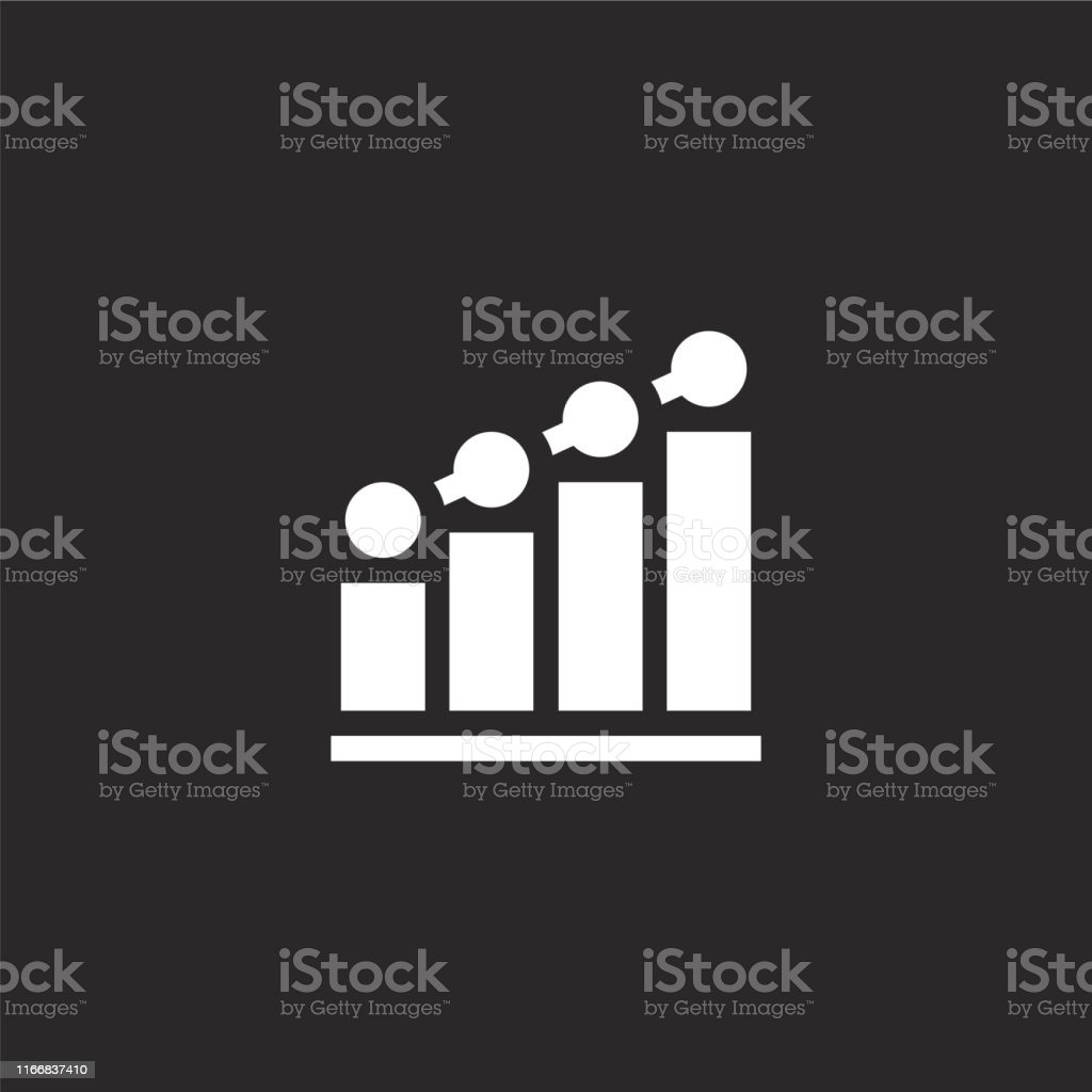 bar chart icon. Filled bar chart icon for website design and mobile,...