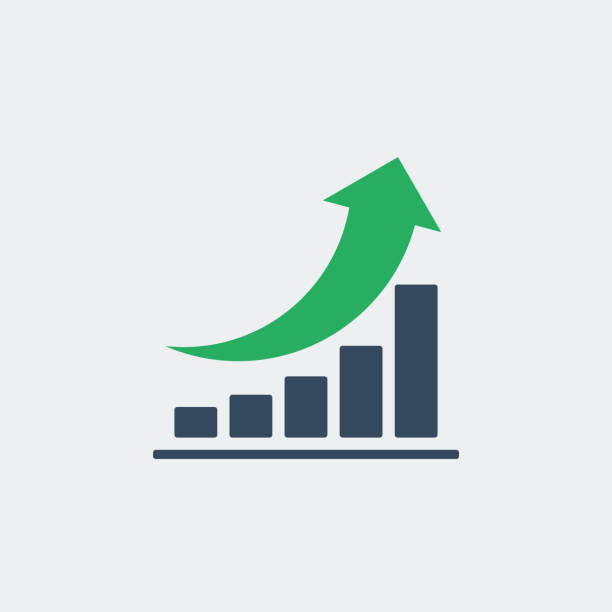 ilustrações de stock, clip art, desenhos animados e ícones de bar chart with rounded green up arrow, vector icon or pictogram - upgrade
